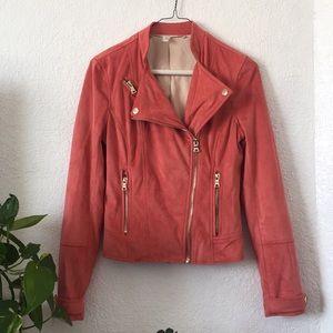 a521bf11 Chelsea & Violet Jackets & Coats - 🌸Chelsea & Violet Salmon Suede Biker  Jacket XS